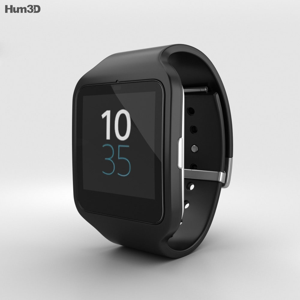 sony smartwatch 3 swr50 black 3d model hum3d. Black Bedroom Furniture Sets. Home Design Ideas