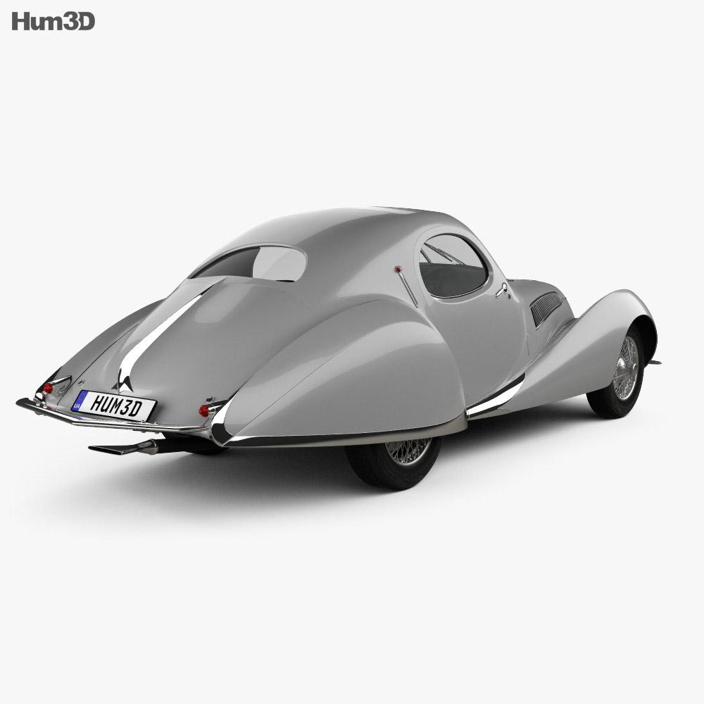 Talbot Lago T150 SS Figoni et Falaschi Teardrop Coupe 1938 3d model back view