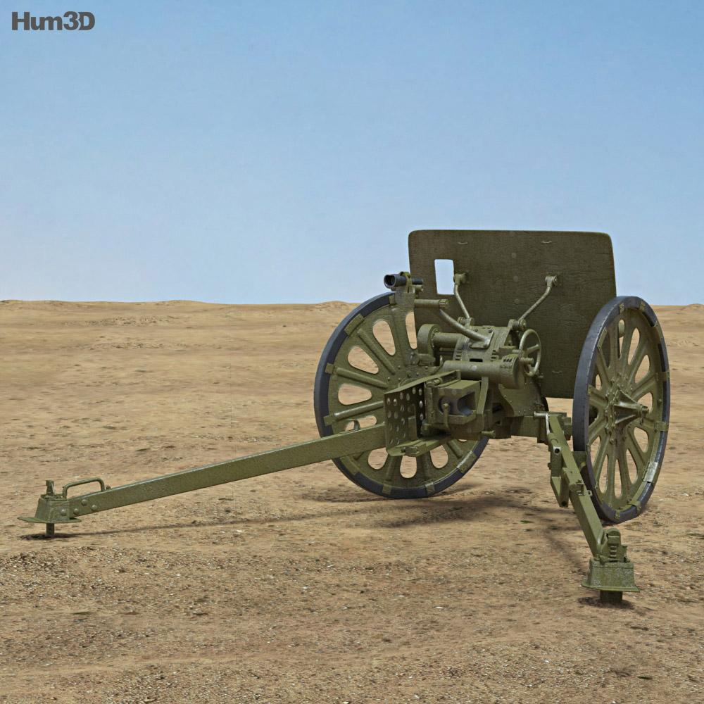 Type 1 37 mm Anti-Tank Gun 3d model