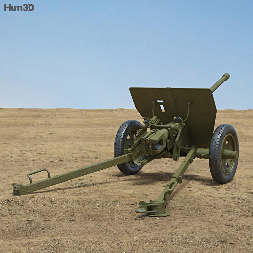 Type 1 47 mm Anti-Tank Gun 3d model back view