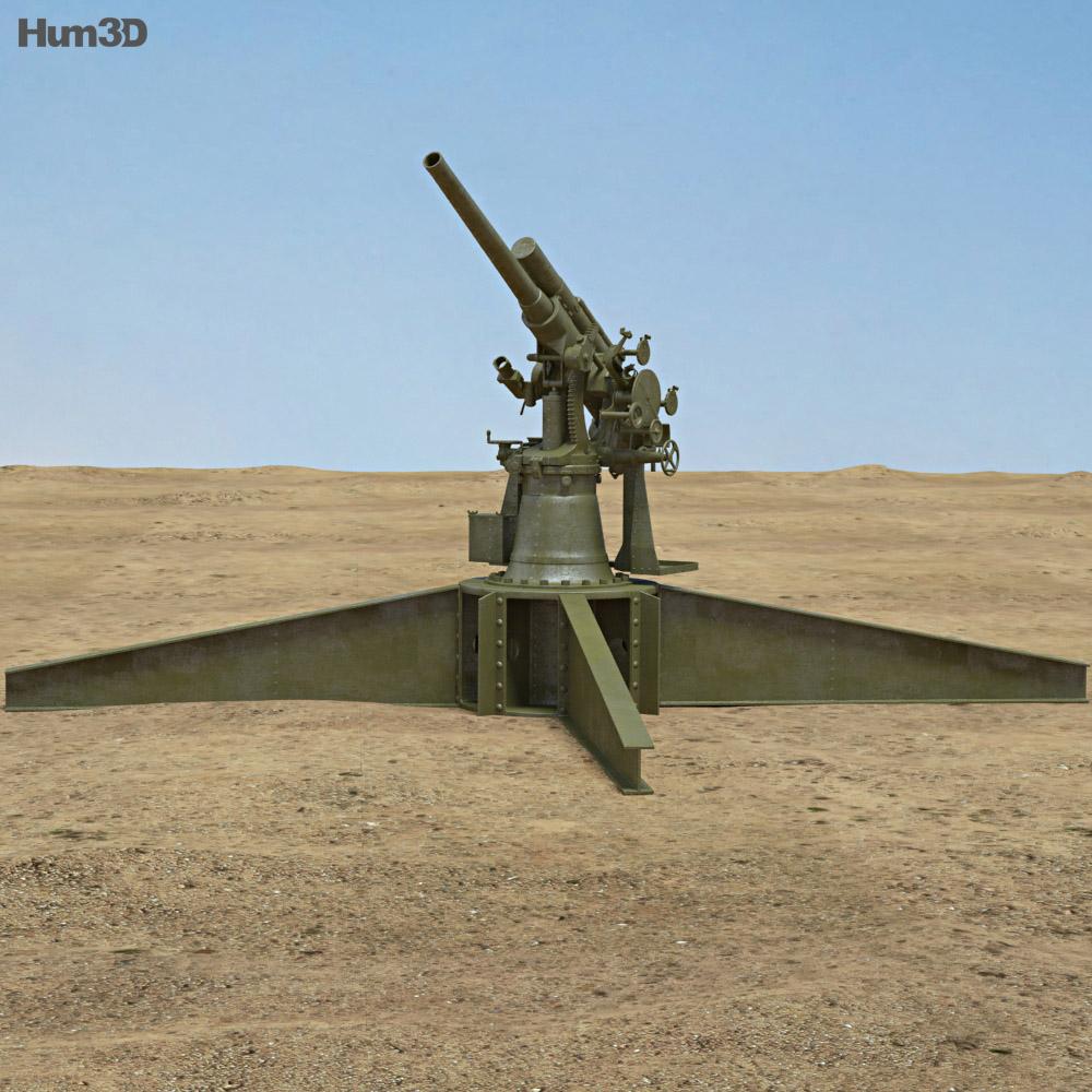 Type 3 80 mm AA Gun 3d model