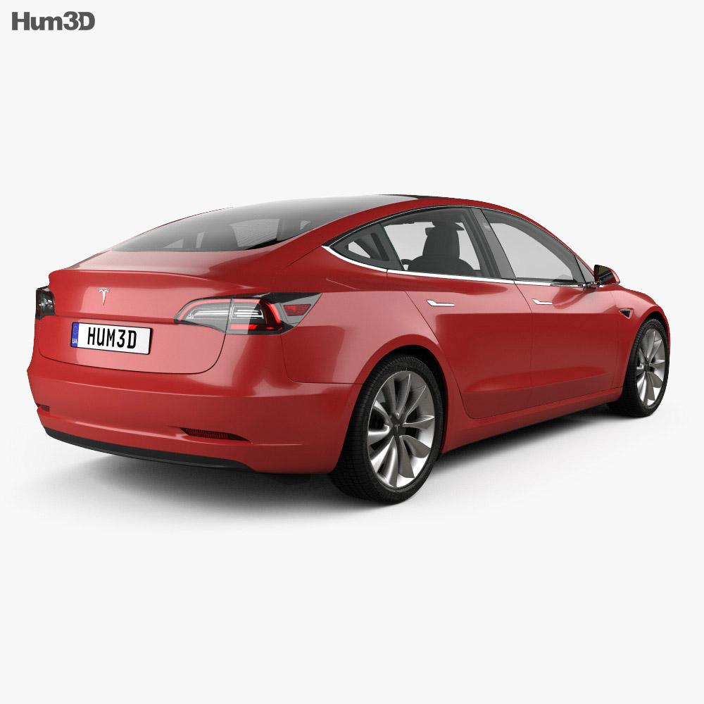 Tesla Model 3 with HQ interior 2018 3d model