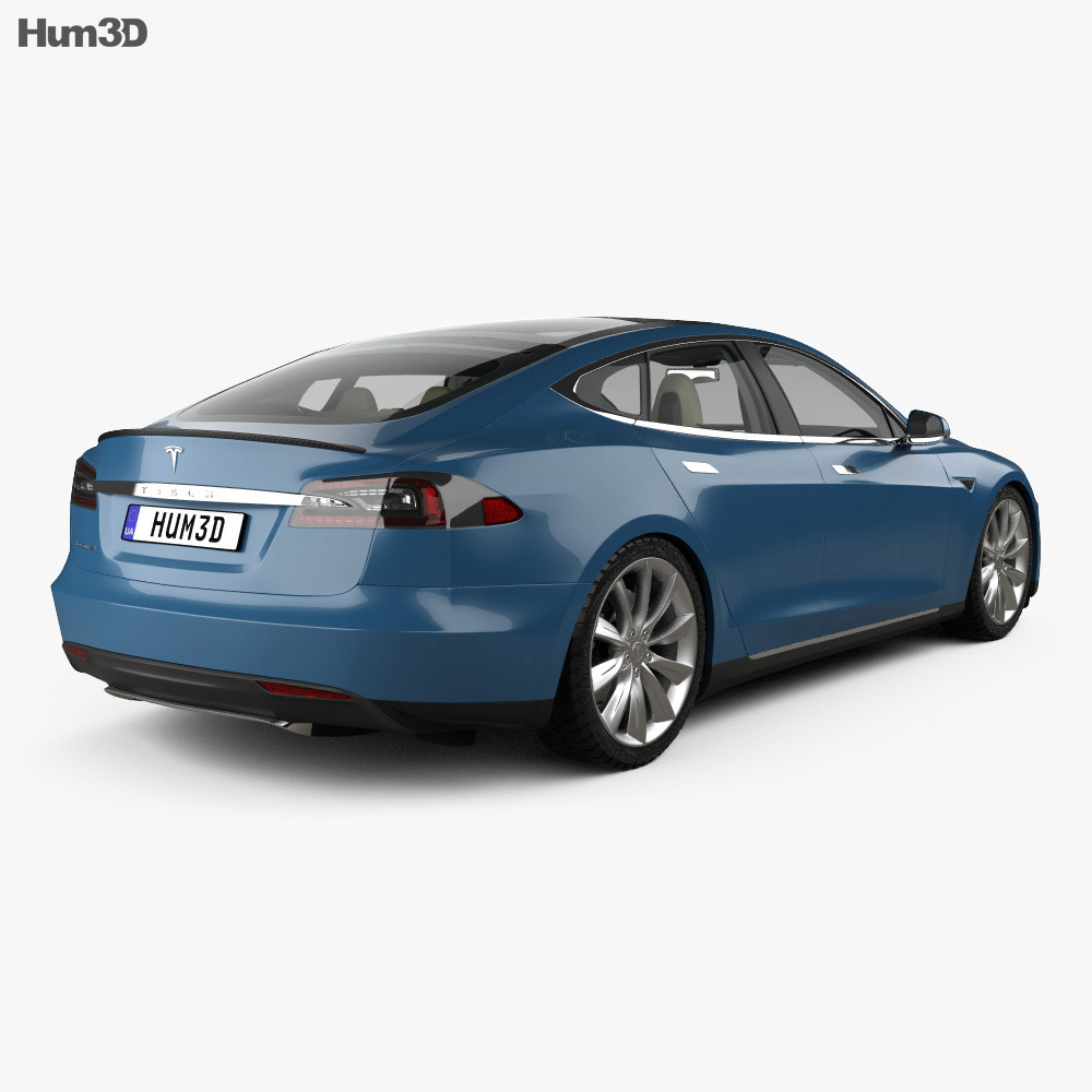 Tesla model s with hq interior 2014 3d model humster3d for Interior tesla model s