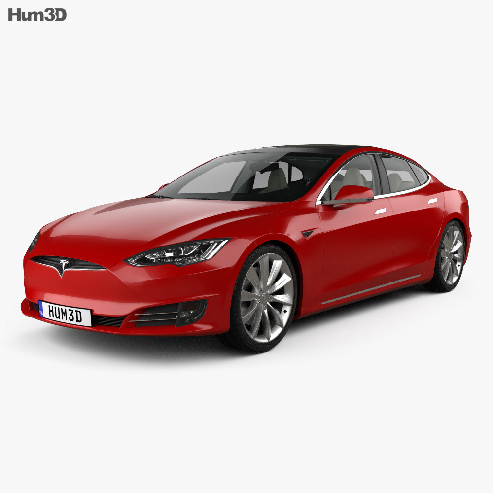 Tesla Model S P90D with HQ interior 2016 3d model