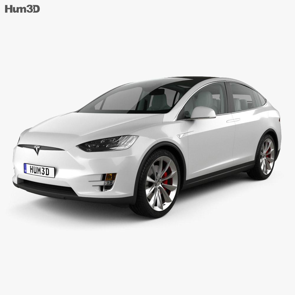 Tesla model X with HQ interior 2016 3d model