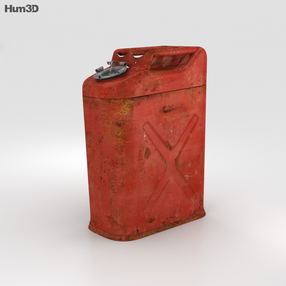 Vintage 5 Gallon Jerry Gas Fuel Can 3d model