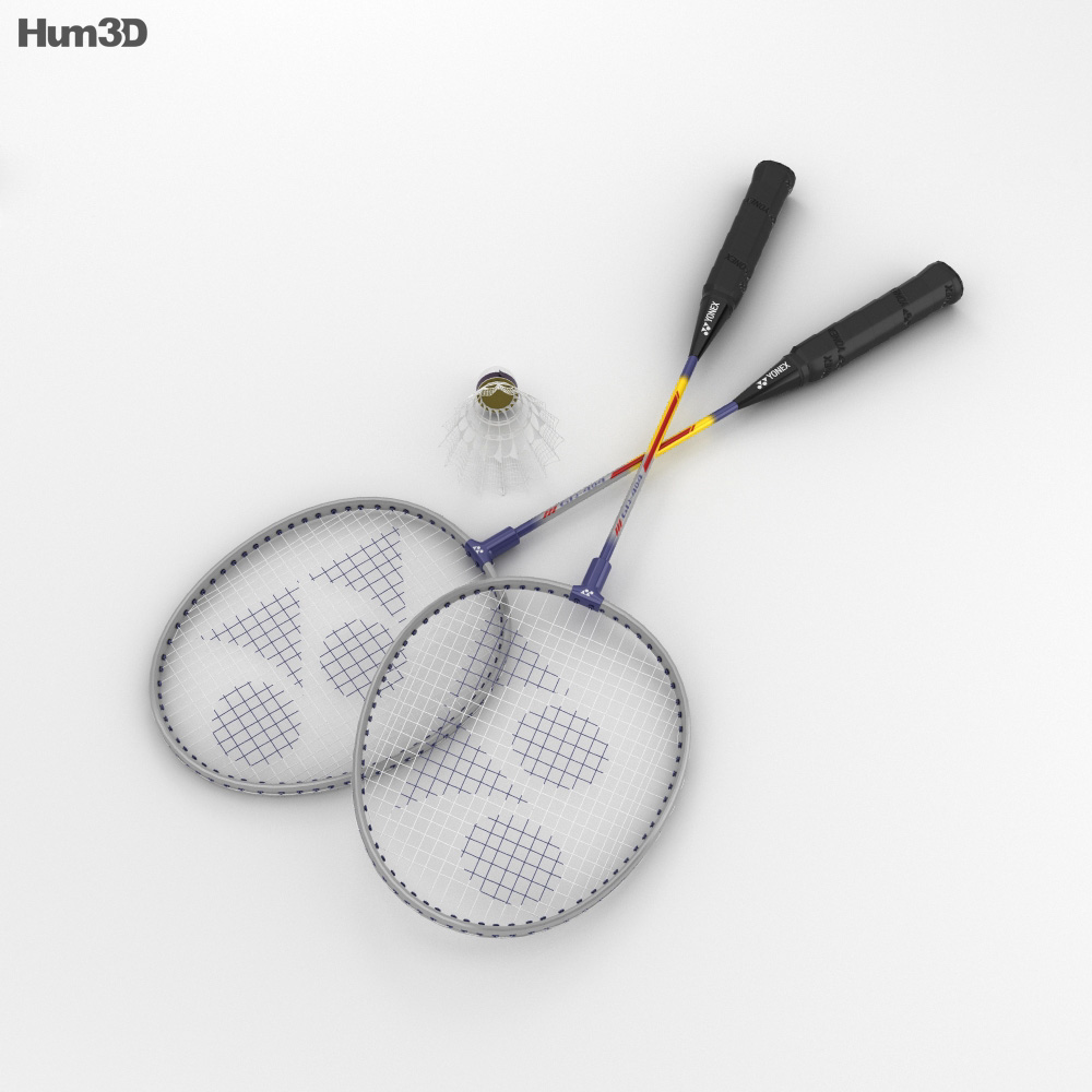 Badminton Racket and Shuttlecock 3d model