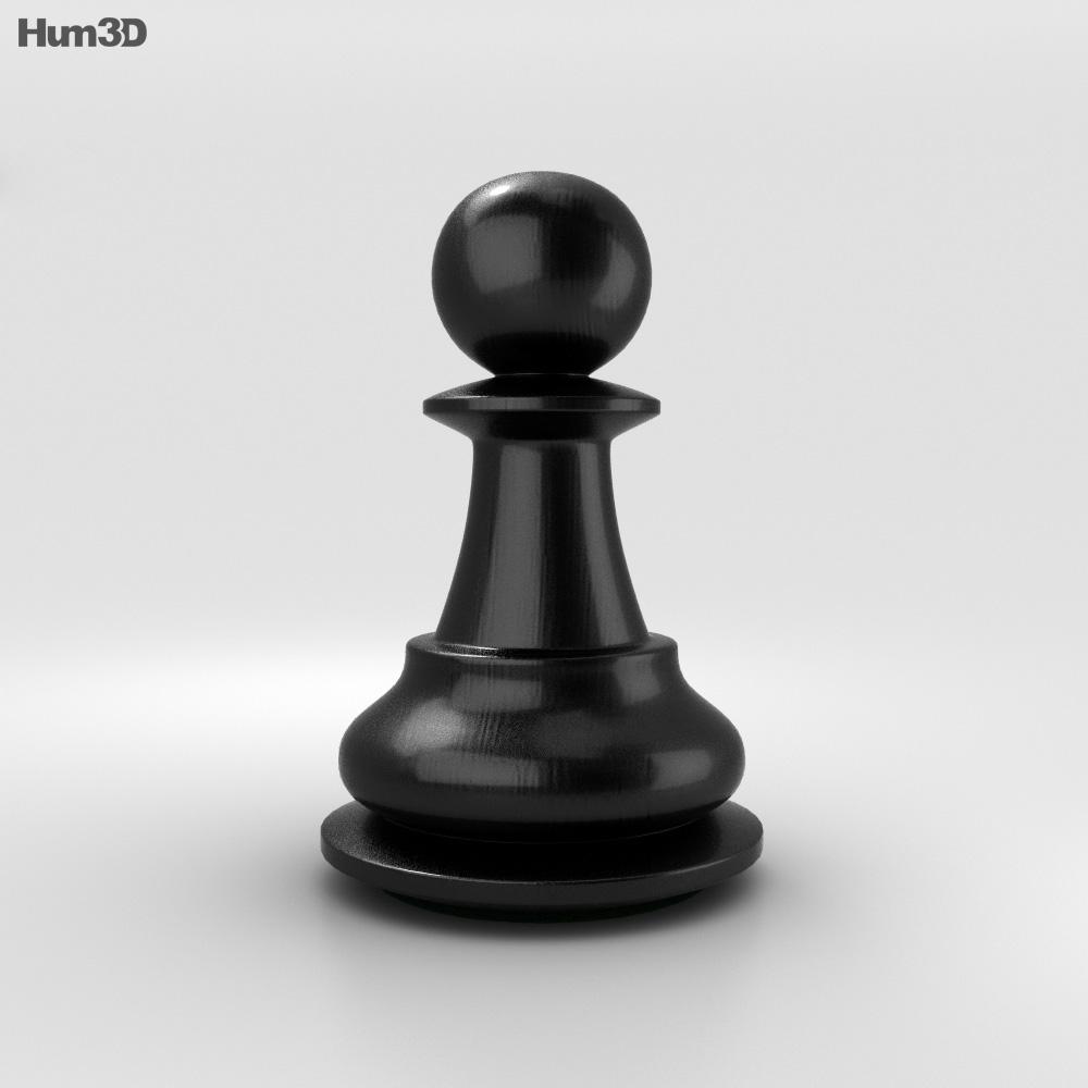 Classic Chess Pawn Black 3d model