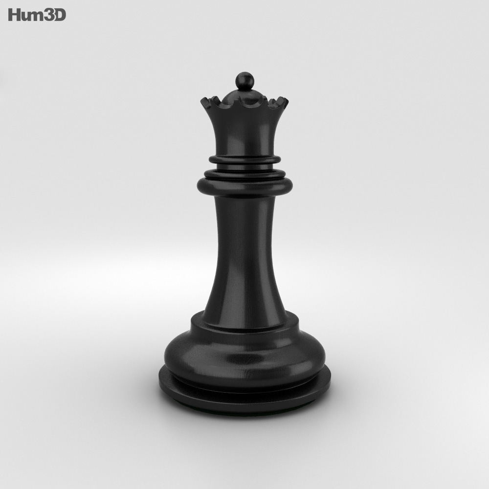 Classic Chess Queen Black 3d model