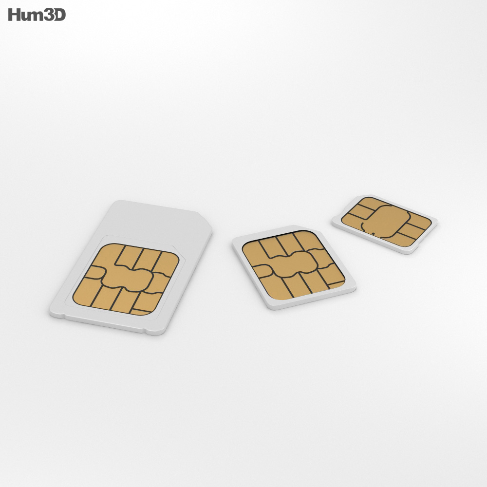 Sim Cards Set 3d model