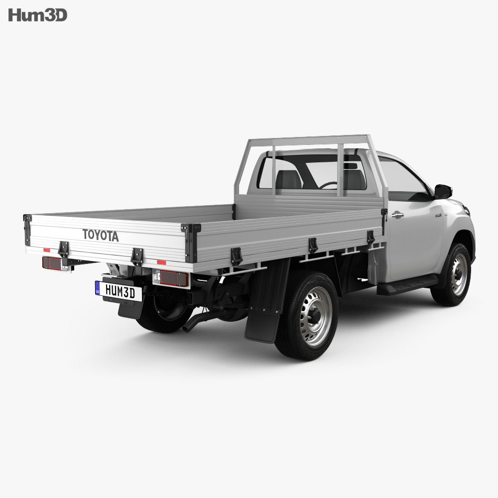 Toyota Hilux Single Cab Alloy Tray SR 2015 3d model back view