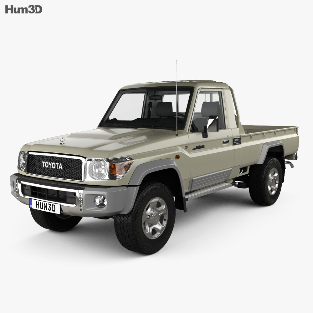Toyota Land Cruiser Single Cab Pickup with HQ interior 2007 3d model