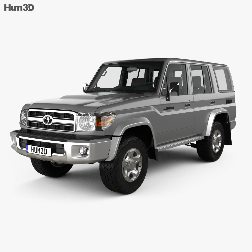 Toyota Land Cruiser 5-door with HQ interior 2007 3d model