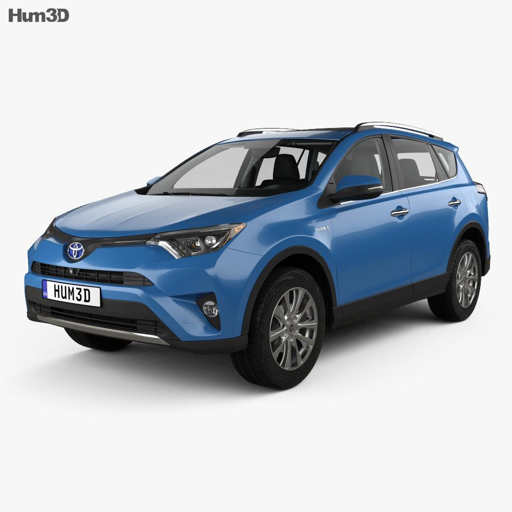 Toyota Hybrid 2016: Toyota RAV4 Hybrid With HQ Interior 2016 3D Model
