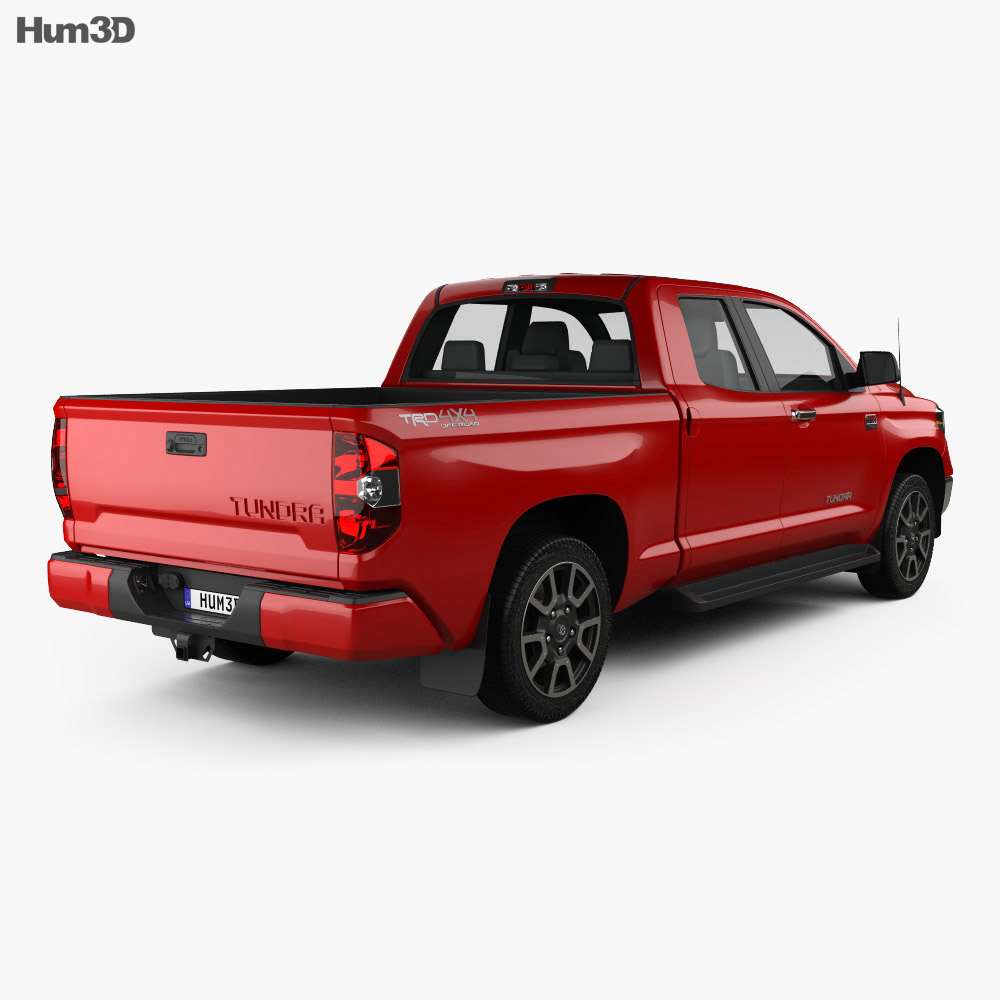 Toyota Tundra Double Cab 2013 3d model back view