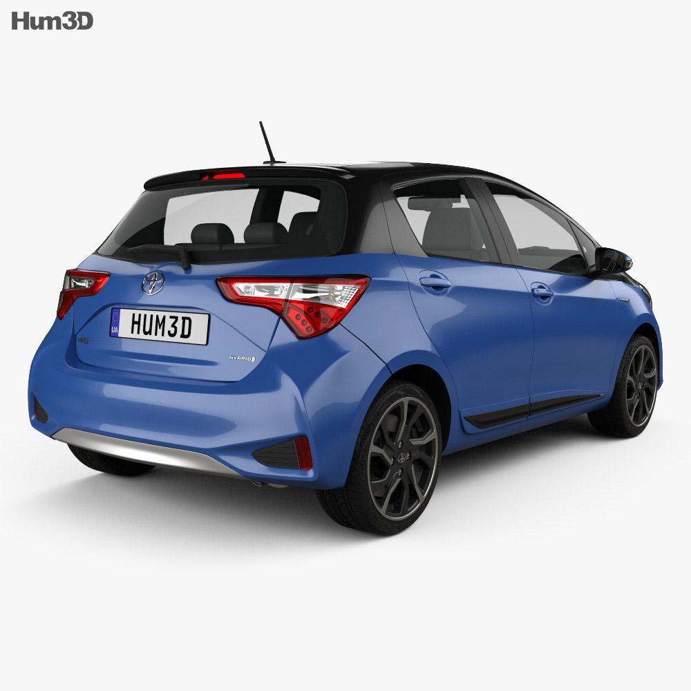 Toyota Yaris Hybrid Bi-Tone 2017 3d model back view
