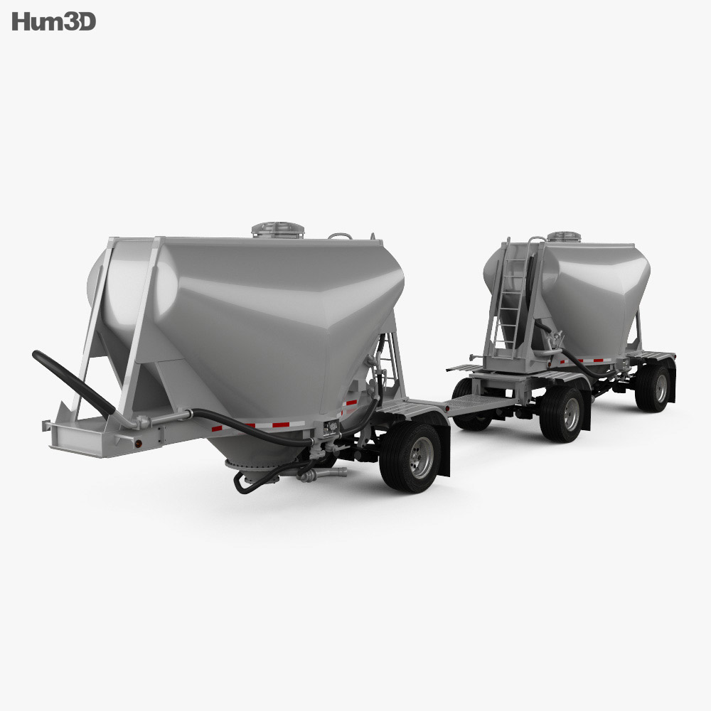 3D model of Beall 550 Dry Bulk Double Trailer 2016