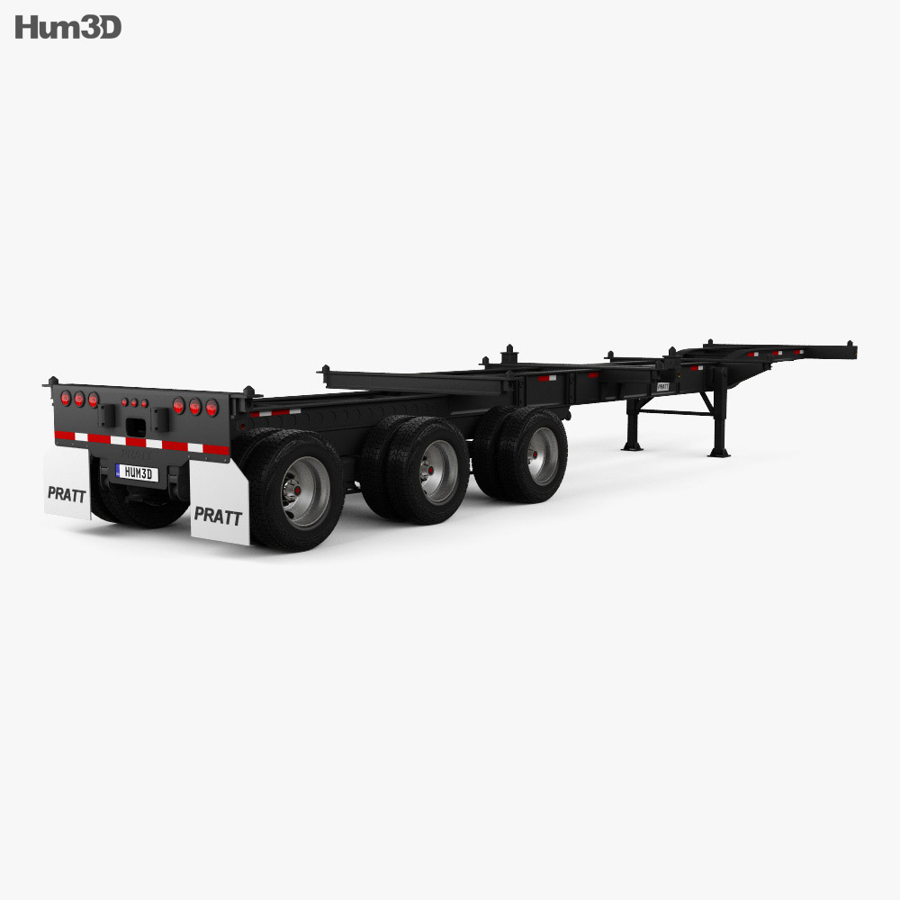 Pratt GN2040EZ Container Chassis 40ft Semi Trailer 2018 3d model