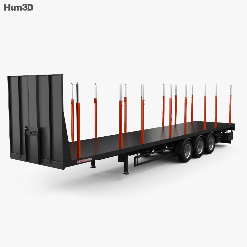 Schwarzmueller Timber Semi Trailer 3-axle 2016 3d model