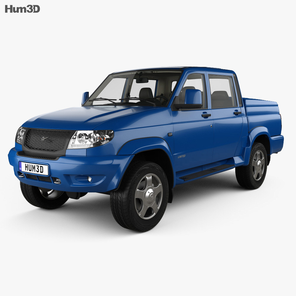 UAZ Patriot (23632) Pickup with HQ interior 2013 3d model