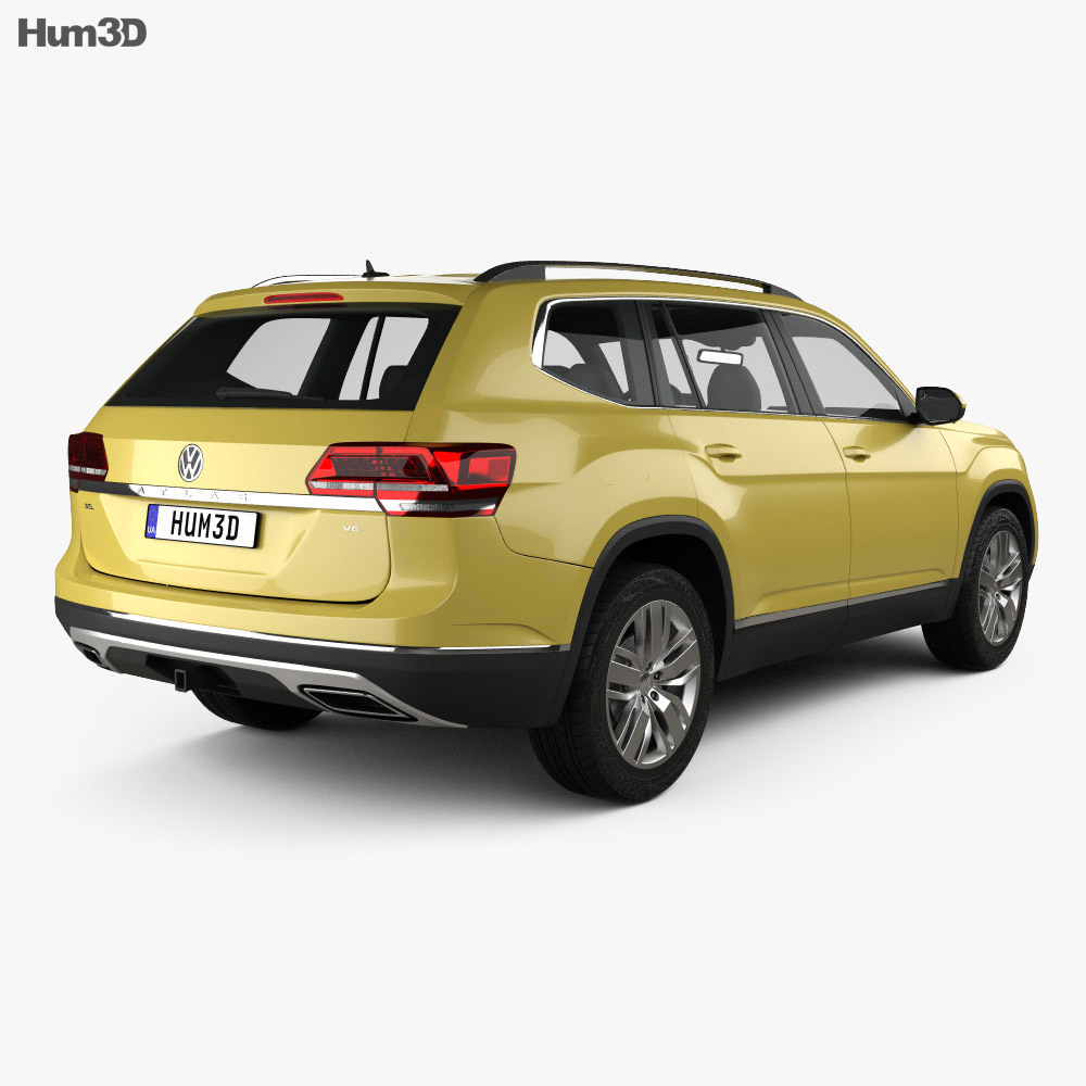 Vw Atlas Dimensions >> Volkswagen Atlas SEL 2018 3D model - Hum3D