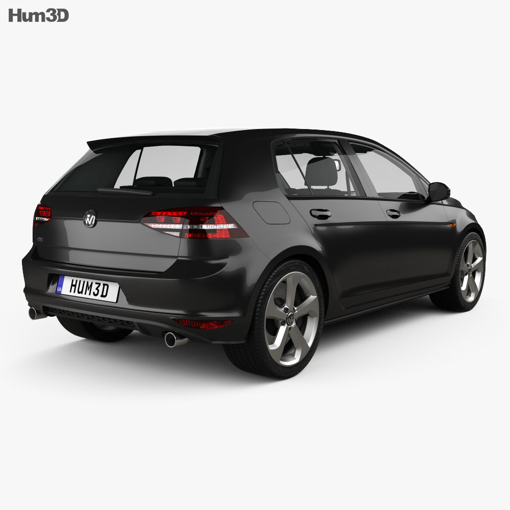 Volkswagen Golf GTI 5-door hatchback with HQ interior 2013 3d model