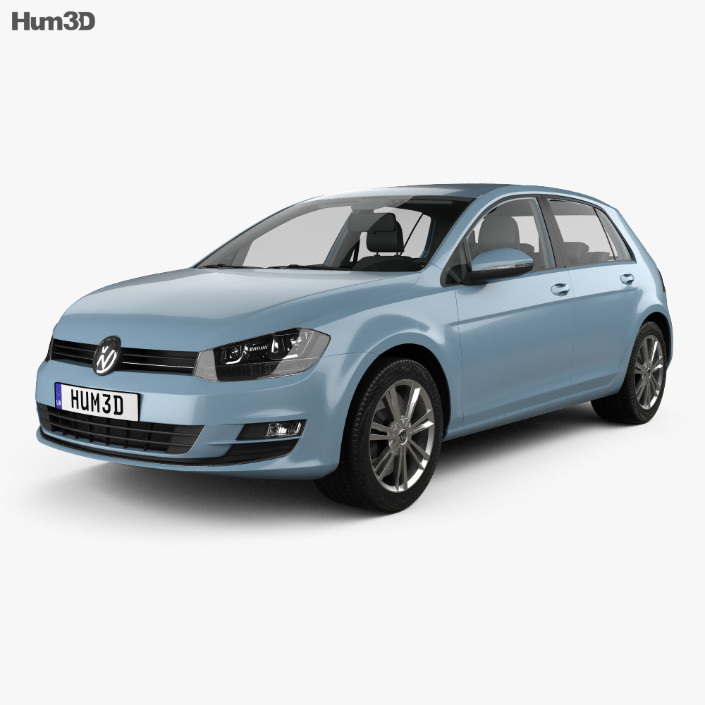Volkswagen Golf 5-door with HQ interior 2013 3d model