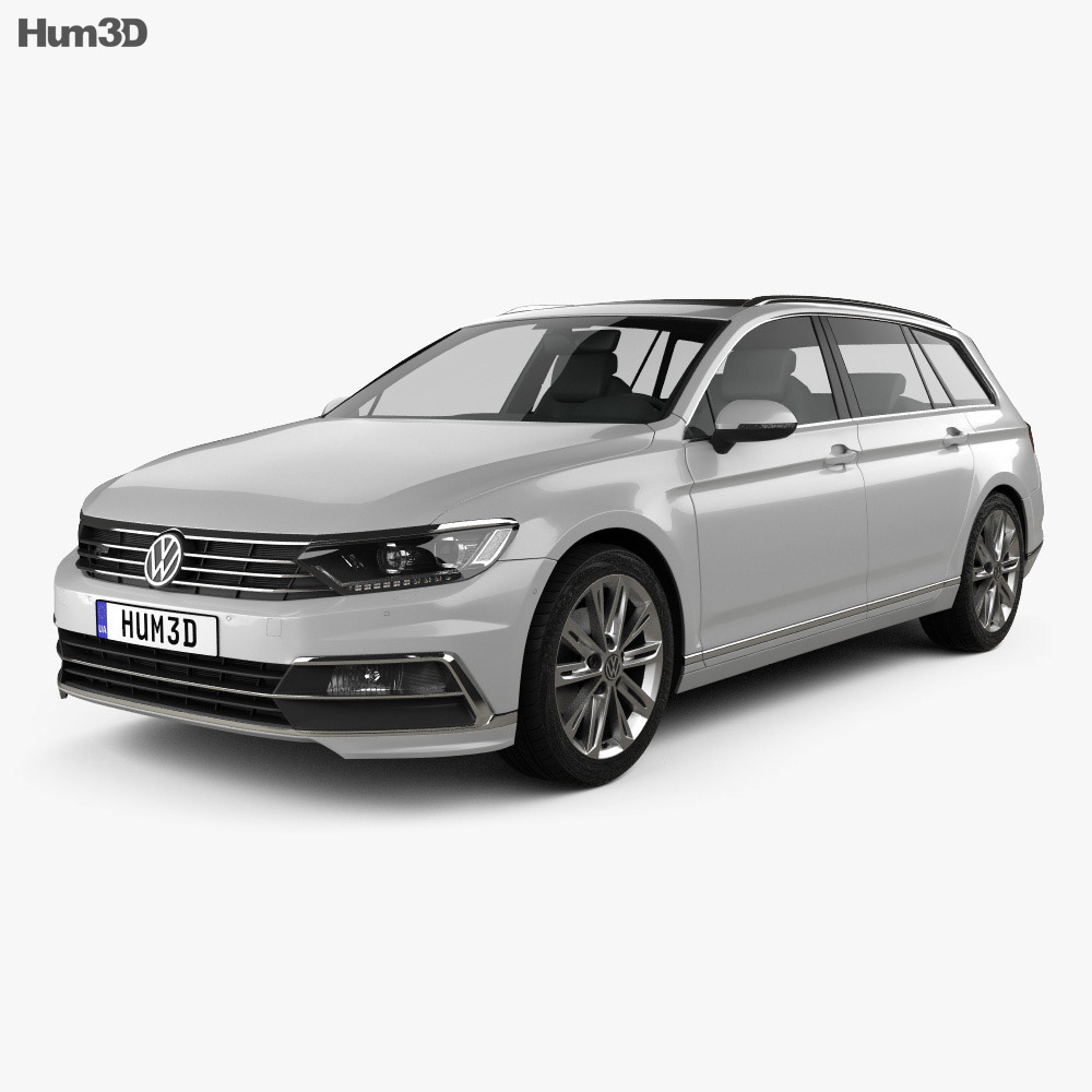 volkswagen passat b8 sedan r line 2015 3d model hum3d
