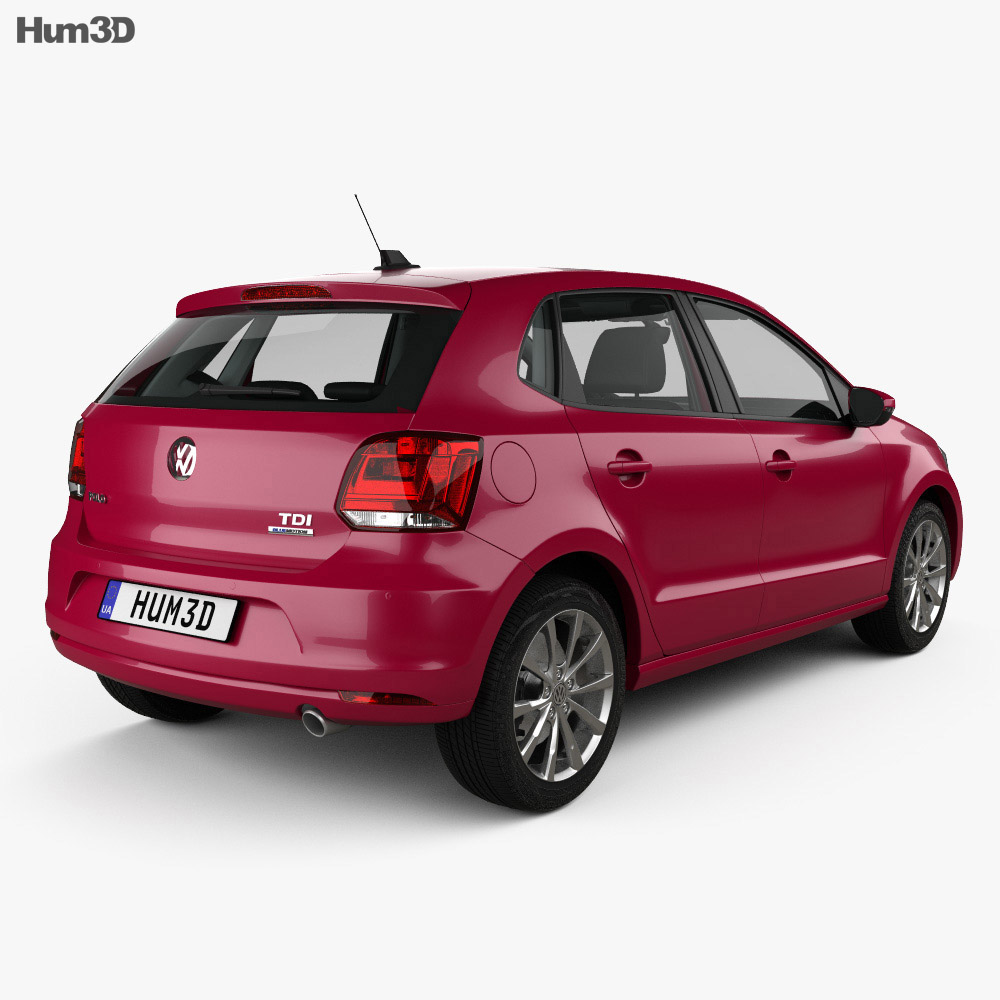 Volkswagen Polo 5-door with HQ interior 2014 3d model