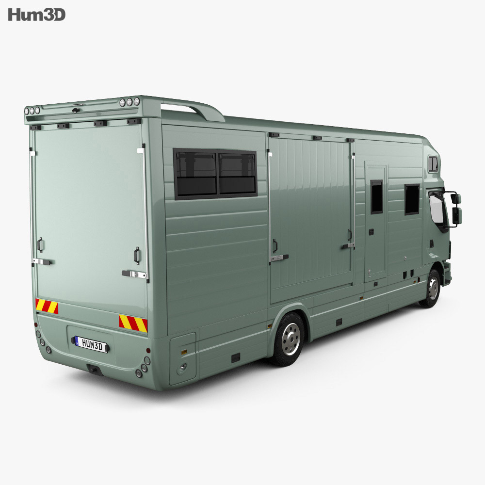 Volvo FE Roelofsen-Raalte RR2 Horse Truck 2017 3d model back view