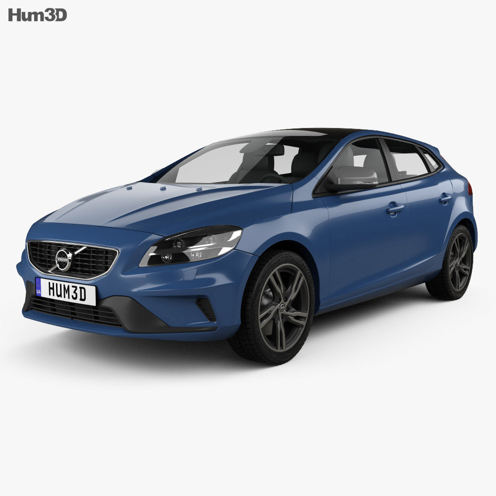 volvo v40 t5 r design 2016 3d model vehicles on hum3d. Black Bedroom Furniture Sets. Home Design Ideas