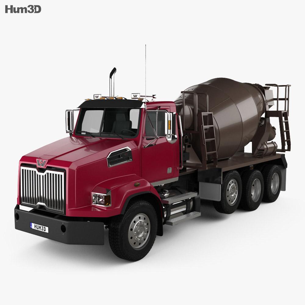 Western Star 4700 Set Back Mixer Truck 2011 3d model